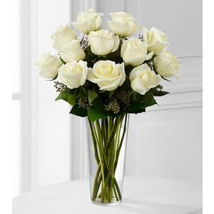 E8-4812 The White Rose Bouquet by FTD - VASE INCLUDED