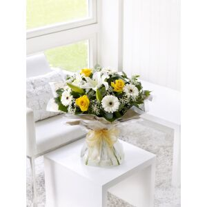 Yellow and white hand-tied